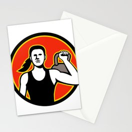 Female Personal Trainer Lifting Kettlebell Mascot Stationery Cards