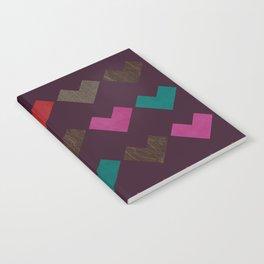 leather geometric love on dark purple Notebook