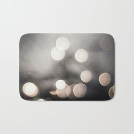 Black and White Bokeh Lights Photography, Sparkle Light Art, Neutral Sparkly Photo Bath Mat