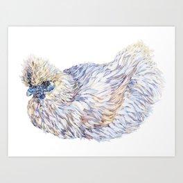 White Silkie Chicken Hen Art Print