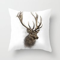 stag Throw Pillows featuring stag by emegi