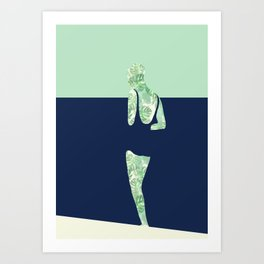 Back to the Beach (Watercolour Monstera) Art Print