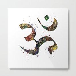 Om Art Spiritual Symbol Aum Symbol Peace Art Colorful Watercolor Gift Metal Print