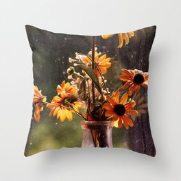 Black Eyed Susans in the window. Throw Pillow