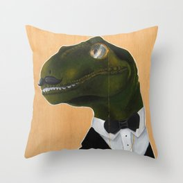 Dapper Velociraptor Throw Pillow