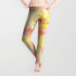 Modern pink orange tie die watercolor pattern white hand drawn floral mandala pattern Leggings