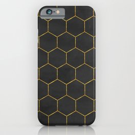 Black and Gold Hexagons iPhone Case