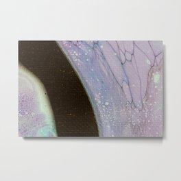 Fluid Art Acrylic Painting, Pour 25, Purple, Teal & Black Blended Color Metal Print