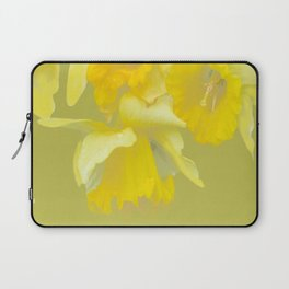 Sign of Spring - Yellow Narcissus on Spring Green Background #decor #society6 #buyart Laptop Sleeve