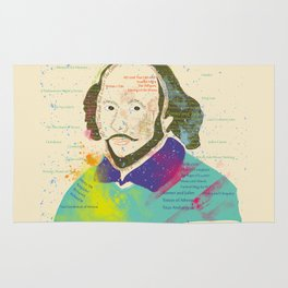 Portrait of William Shakespeare-Hand drawn Rug