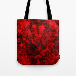 Butterfly and fractal in black and blood red Tote Bag