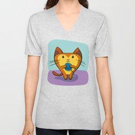 A Kitten that loves Sewing Unisex V-Neck