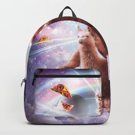 Laser Eyes Space Cat Riding Sloth, Llama - Rainbow Backpack