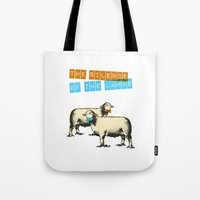 silence of the lambs Tote Bags featuring The silence of the lambs by Marta Colomer