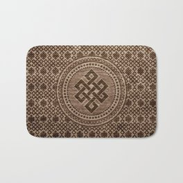 Endless Knot Decorative on Wooden Surface Bath Mat