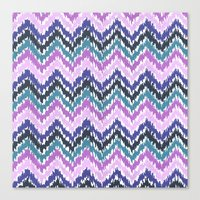 ikat Canvas Prints featuring Ikat Chevron by Noonday Design