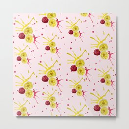 watercolor pattern with pink and yellow flower bouquets Metal Print
