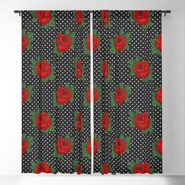 Rockabilly style roses on white polka dots pattern Blackout Curtain