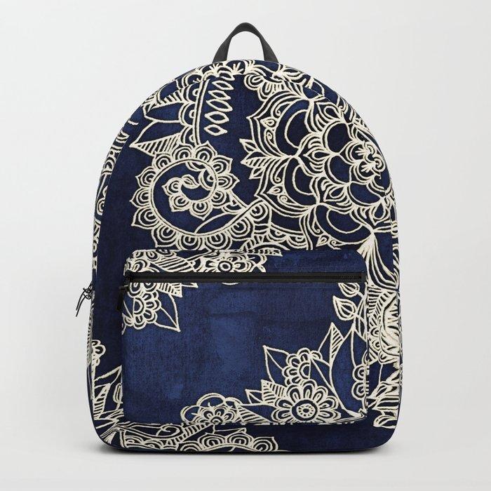 Cream Floral Moroccan Pattern on Deep Indigo Ink Backpack