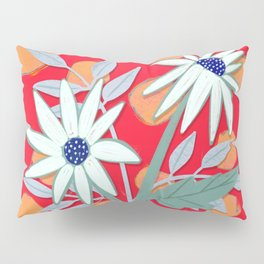 Daisies for You in Red Pillow Sham