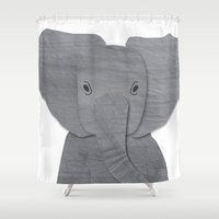 baby elephant Shower Curtains featuring Baby Elephant by EllaRoseDesign