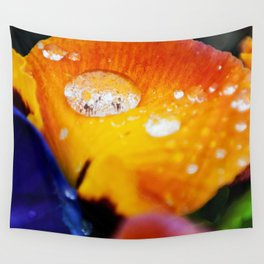 Water droplet on bright and vibrant Pansy flowers Wall Tapestry