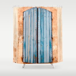 Blue Shutters ~ Old World French Architecture Travel Photography Bluish Accent Wood Grain Shower Curtain
