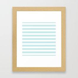 Duck Egg Pale Aqua Blue and White Wide Horizontal Beach Hut Stripe Framed Art Print