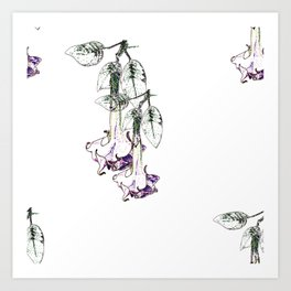Illustrated Moonflower in Purple and Green Art Print