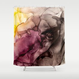 Abstract Alcohol Ink Art - Sun above the mountains Shower Curtain