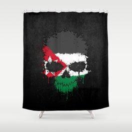Flag of Jordan on a Chaotic Splatter Skull Shower Curtain