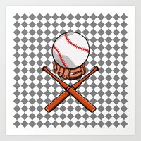 baseball Art Prints featuring Baseball by mailboxdisco