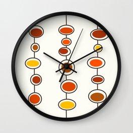 Mid Mod Bubbles in Orange Wall Clock