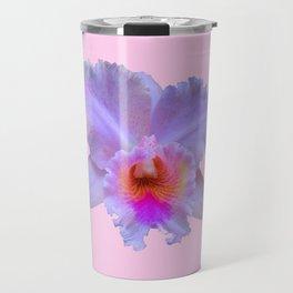 PINK ART TROPICAL CATTLEYA ORCHID FLOWER Travel Mug