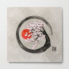 Zen Enso Circle and Sakura Tree on Canvas Metal Print