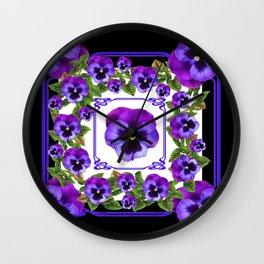 SPRING PURPLE PANSY FLOWERS  BLACK GARDEN ART Wall Clock