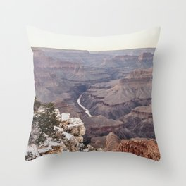 Snowy Grand Canyon Throw Pillow