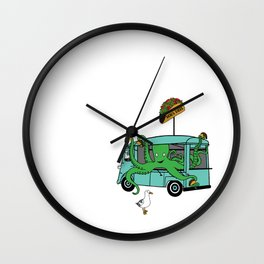 Flock of Gerrys Octo's Taco Cart by Seasons Kaz Sparks Wall Clock