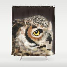 Horned Owl Portrait II Shower Curtain