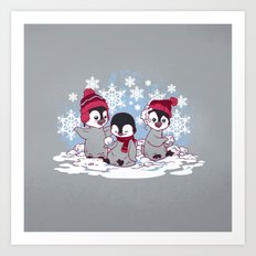 Snow Penguins Art Print