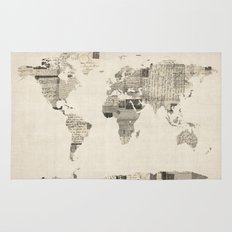 Map of the World Map from Old Postcards Rug
