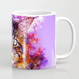 squinting maine coon cat splatter watercolor Coffee Mug