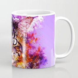squinting maine coon cat splatter watercolor Coffee Mug