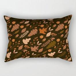 Autumn Leaves and Ladybugs Pattern Dark Rectangular Pillow