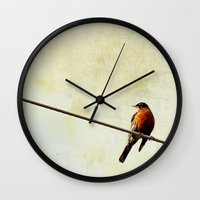 robin Wall Clocks featuring Robin by Beverly LeFevre
