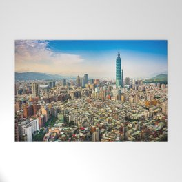 Aerial view and cityscape of Taipei, Taiwan Welcome Mat