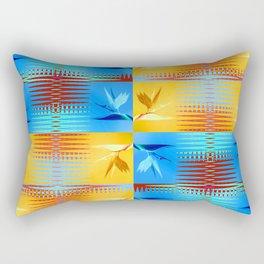 Birds of Paradise Retro Floral Blue and Gold Rectangular Pillow