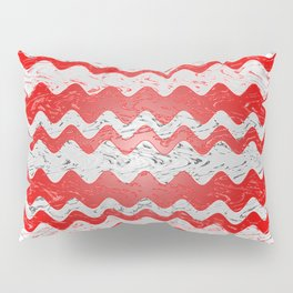 Red White Stripe Patchy Marble Pattern Pillow Sham