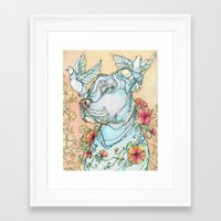 pitbull Framed Art Prints featuring Peaceful Pitbull by Kate Fitzpatrick