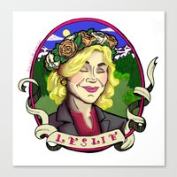 leslie knope Canvas Prints featuring Leslie Knope by Rachel M. Loose